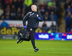 CARDIFF, WALES - Tuesday, February 11, 2014: Cardiff City's physiotherapist Sean Connelly during the Premiership match against Aston Villa at the Cardiff City Stadium. (Pic by David Rawcliffe/Propaganda)