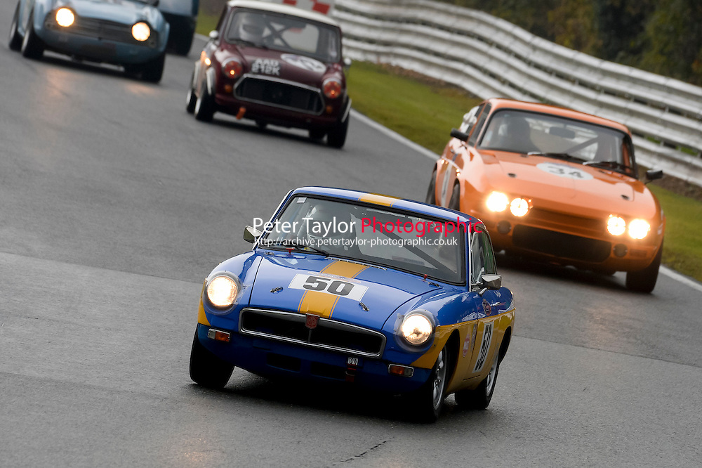 #50 Clark / Fenny MG B GTt 1860 during the CSCC Adams and Page Swinging Sixties at Oulton Park, Little Budworth, Cheshire, United Kingdom. October 15 2016. World Copyright Peter Taylor/PSP. <br /> Copy of publication required for printed pictures.  Every used picture is fee-liable. http://archive.petertaylor-photographic.co.uk