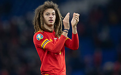 CARDIFF, WALES - Tuesday, November 19, 2019: Wales Ethan Ampadu celebrates after the final UEFA Euro 2020 Qualifying Group E match between Wales and Hungary at the Cardiff City Stadium where Wales won 2-0 and qualified for Euro 2020. (Pic by Laura Malkin/Propaganda)