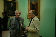 Eric Hobsbaun and Harold Pinter. Celebration of Lord Weidenfeld's 60 Years in Publishing hosted by Orion. the Weldon Galleries. National Portrait Gallery. London. 29 June 2005. ONE TIME USE ONLY - DO NOT ARCHIVE  © Copyright Photograph by Dafydd Jones 66 Stockwell Park Rd. London SW9 0DA Tel 020 7733 0108 www.dafjones.com