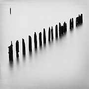 Outlier Piling, Astoria, Oregon. Hundred-year-old pilings along Astoria's waterfront, that once supported a thriving fish processing and packing industry, Astoria, Oregon, USA.