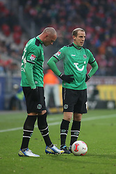 01.12.2012, Coface Arena, Mainz, GER, 1. FBL, 1. FSV Mainz 05 vs Hannover 96, 15. Runde, im Bild Christian Pander und Jan Schlaudraff (beide H96) // during the German Bundesliga 15th round match between 1. FSV Mainz 05 and Hannover 96 at the Coface Arena, Mainz, Germany on 2012/12/01. EXPA Pictures © 2012, PhotoCredit: EXPA/ Eibner/ Matthias Neurohr..***** ATTENTION - OUT OF GER *****