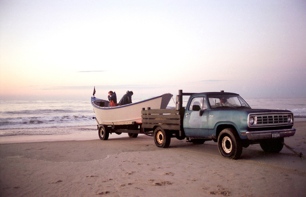 The Lester brothers about to launch a dory into the ocean. (Amagansett, NY)