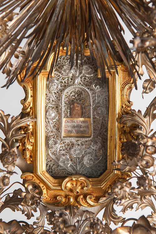A detail of a reliquary with a bone of San Pietro Orseolo is seen at the museum ViVe, Vivaldi Venice, at Chiesa della Pietà on July 12, 2017 in Venice, Italy. Chiesa della Pietà has just opened to the public the restored fresco of Tiepolo with the original colors and a museum with original documents of the institution clled La Pietà that in the past hosted abandoned children, and also with original musical instruments used by Vivaldi to teach to the children. ©Simone Padovani