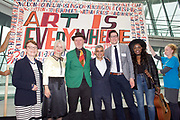 Sadiq Khan, Mayor launches a search for the first ever London Borough of Culture at a ceremony at City Hall, London, Great Britain <br /> 30th June 2017 <br /> <br /> L to R <br /> Catherine McGuinness, Policy Chairman at the City of London Corporation <br /> <br /> Justine Simons OBE, Deputy Mayor for Culture and the Creative Industries <br /> <br /> Bob and Roberta Smith <br /> <br /> <br /> Sadiq Khan, Mayor London <br /> <br /> <br /> Stuart Hobley - Head of Heritage Lottery Fund for London <br /> <br /> Modupe Obasola (singer) <br /> <br /> The launch moment was marked by the unfurling of a 4 metre long artwork/banner painted by artist Bob and Roberta Smith especially for the launch.<br /> <br /> <br /> Photograph by Elliott Franks <br /> Image licensed to Elliott Franks Photography Services