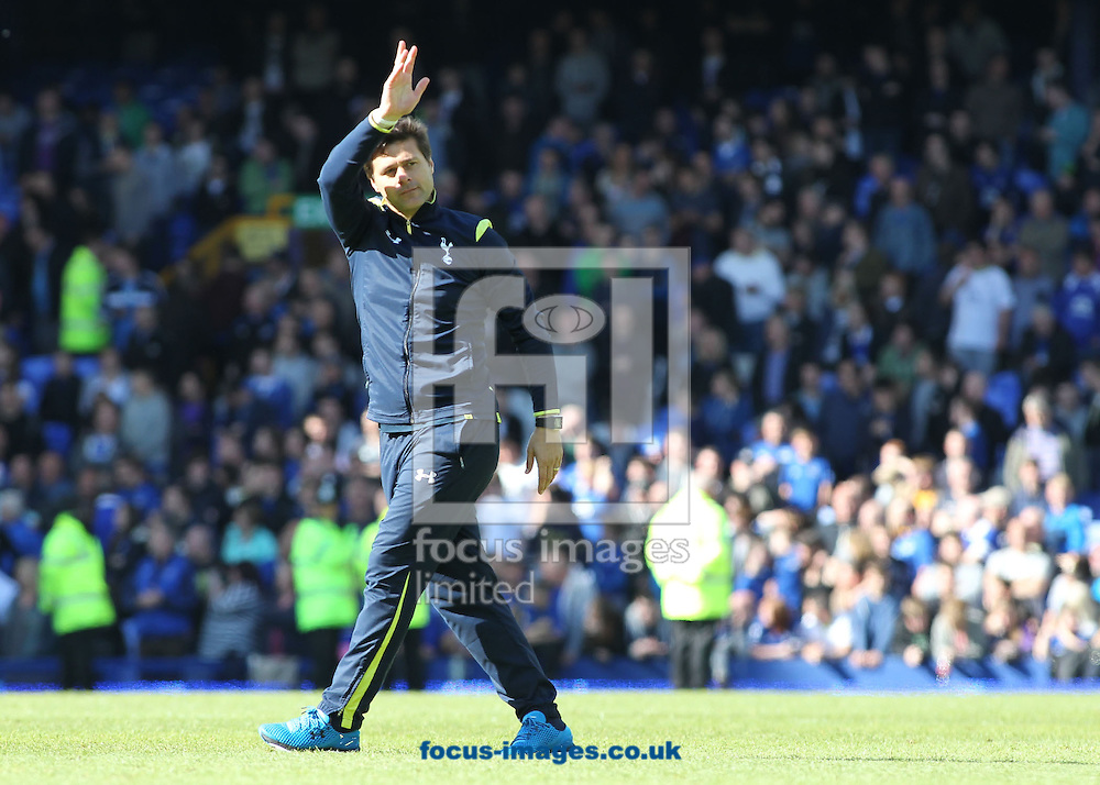 Mauricio Pochettino, manager of Tottenham Hotspur waves to his teams supporters after the Barclays Premier League match against Everton at Goodison Park, Liverpool.<br /> Picture by Michael Sedgwick/Focus Images Ltd +44 7900 363072<br /> 24/05/2015