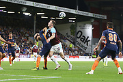 10 Ashley Barnes for Burnley FC battles with 21 Mehumt Tekdemir for İstanbul Başakşehir F.K. during the Europa League third qualifying round leg 2 of 2 match between Burnley and Istanbul basaksehir at Turf Moor, Burnley, England on 16 August 2018.