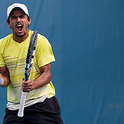 August 16, 2014, New Haven, CT:<br /> Sanam Singh reacts after defeating Jeff Dadamo in the 2014 US Open National Playoffs Men's final on day four of the 2014 Connecticut Open at the Yale University Tennis Center in New Haven, Connecticut Monday, August 18, 2014.<br /> (Photo by Billie Weiss/Connecticut Open)