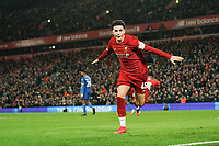 Football - 2019 / 2020 Emirates FA Cup - Fourth Round, Replay: Liverpool vs. Shrewsbury Town<br /> <br /> Liverpool's Curtis Jones celebrates his sides first goal, an own goal by Shrewsbury Town's Ro-Shaun Williams, at Anfield.<br /> <br /> COLORSPORT/TERRY DONNELLY