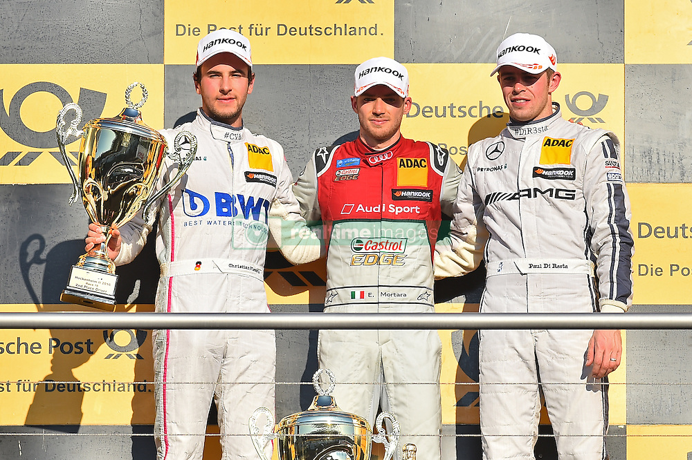 v.l. Rennergebnis: 2.Platz Christian Vietoris (Mercedes-AMG DTM Team Mücke), Sieger Edoardo Mortara (Audi Sport Team Abt Sportsline), 3.Platz Paul Di Resta (Mercedes-AMG DTM Team HWA)  beim DTM Saisonfinale in Hockenheim<br /> <br />  / 161016<br /> <br /> ***German Touring Car Championship in Hockenheim, Germany, October 16, 2016 ***