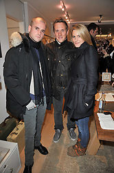 Left to right, LYONEL TOLLEMACHE, HARRY BECHER and LADY KINVARA BALFOUR at the launch party for Club Monaco at Browns, 32 South Molton Street, London on 16th February 2011.