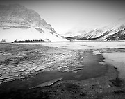 Ice sheets at Bow Lake on a cold winter morning