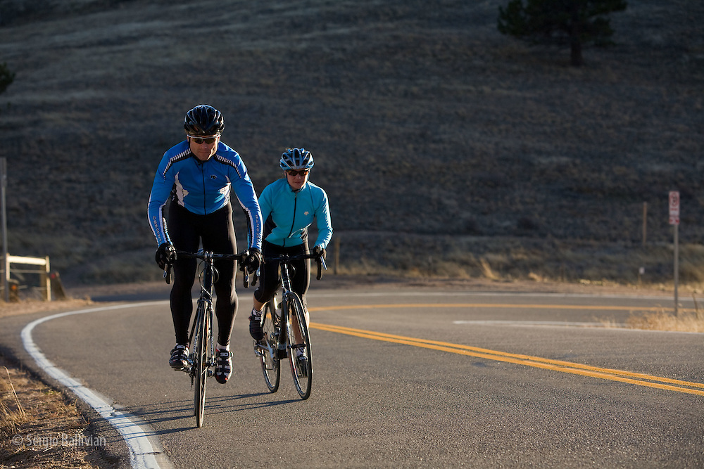 Bicycling on county roads in early December in Boulder, Colorado.