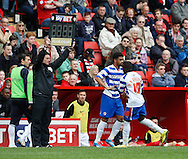 Royston Drenthe of Reading comes off for Nick Blackman of Reading during the Sky Bet Championship match at The Valley, London<br /> Picture by Andrew Tobin/Focus Images Ltd +44 7710 761829<br /> 05/04/2014