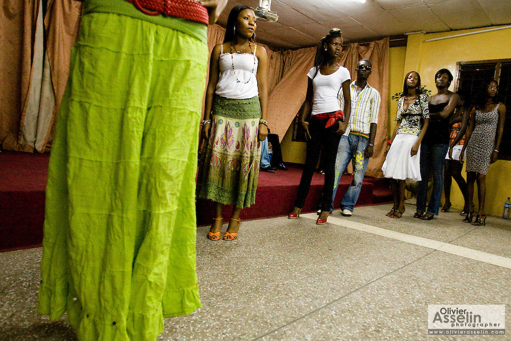 Fashion modeling rehearsal in Ghana's capital Accra on Thursday May 21, 2009.