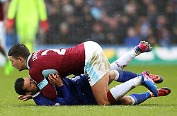 Pedro of Chelsea collides with Matthew Lowton of Burnley - Mandatory by-line: Matt McNulty/JMP - 12/02/2017 - FOOTBALL - Turf Moor - Burnley, England - Burnley v Chelsea - Premier League