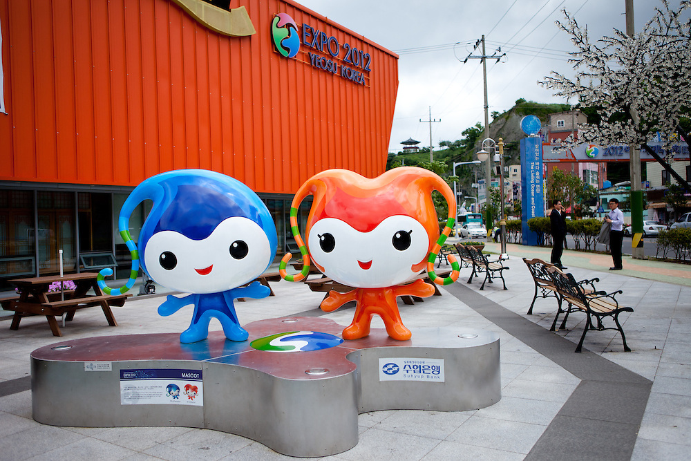 """""""Yeony and Suny"""" - the official mascots of the Expo 2012 in front of the information center in the South Korean city. Yeosu will host the Expo 2012 exhibition  under the theme """"The Living Ocean and Coast"""". Yeosu (Yeosu-si) is a city in South Jeolla Province. Old Yeosu City, which was founded in 1949, Yeocheon City, founded in 1986, and Yeocheon County were merged into a new city in 1998."""