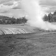 Steaming Geyser Pools And Stream - Yellowstone National Park - Black & White