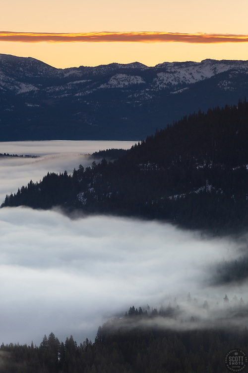 """Foggy Donner Lake Sunrise 2"" - This low lying fog was photographed at sunrise over Donner Lake in Truckee, California."