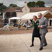 Prince of Wales, Prince Charles visits the Scottish Lime Centre Trust, Charlestown, Fife. Roz Artis, Director, SLCT with HRH Prince of Wales. 08 Sep 2017. Charlestown. Credit: Photo by Tina Norris. Copyright photograph by Tina Norris. Not to be archived and reproduced without prior permission and payment. Contact Tina on 07775 593 830 info@tinanorris.co.uk  <br /> www.tinanorris.co.uk