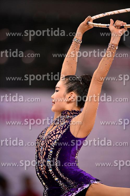07.09.2015, Porsche Arena, Stuttgart, GER, Gymnastik WM, im Bild Song E Chung ((KOR) Reifen // during the World Rhythmic Gymnastics Championships at the Porsche Arena in Stuttgart, Germany on 2015/09/07. EXPA Pictures &copy; 2015, PhotoCredit: EXPA/ Eibner-Pressefoto/ Weber<br /> <br /> *****ATTENTION - OUT of GER*****