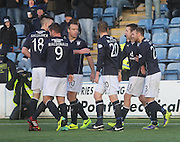 Ryan Conroy is congratulated after scoring the winner from the penalty spot - Queen of South v Dundee, SPFL Championship at Palmerston Park <br /> <br /> <br />  - &copy; David Young - www.davidyoungphoto.co.uk - email: davidyoungphoto@gmail.com