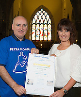 05/09/2016 REPRO FREE:  World Suicide Prevention Day - Pieta House fundraiser: Concert of Hope St. Nicholas&rsquo; Collegiate Church, Galway &ndash; Saturday 10th September at 8pm<br /> <br /> PIC: Choral Director Ronan DeBurca and Donna Burke Pieta House at the launch.<br /> <br /> On Saturday 10th September, all are invited to a &lsquo;Concert of Hope&rsquo; in St. Nicholas&rsquo; Collegiate Church in Galway.<br /> The concert has been organised by local choirs, including Medtronic Chorale, Moycullen Enchants, The Baytones and Limorahaun Singers to support the work of Pieta House. Special guest singer Diarmuid Sutton will lead a special Finale performance.<br /> <br /> Medtronic Chorale, under the direction of Ronan DeBurca, is the anchor choir for the event.  Medtronic employees at Parkmore selected Pieta House West as their &lsquo;Charity of the Year&rsquo; and, aligned with their mission, supports the charity in promoting suicide awareness and prevention as well as fundraising. <br /> <br /> &ldquo;We are truly grateful to everyone who comes up with initiatives to highlight the work that we&rsquo;re doing at Pieta House, to get the message out to anyone in need that our services are here,&rdquo; said Pieta House CEO Brian Higgins, who is due to arrive in Galway on Tuesday September 6 on his `Pieta Grand Tour&rsquo; rickshaw road-trip across Ireland.<br /> <br /> &ldquo;Thanks to everyone behind the Concert of Hope &ndash; and our supporters and fundraisers across Connacht and Ireland &ndash; we are able to keep our services free and are so happy to say that 25,000 people have accessed our services for free since the day we opened a decade ago.&rdquo;<br /> <br /> Pieta House was established in Lucan, Co Dublin, 2006 and celebrates its 10-year anniversary this year. It provides a free, therapeutic approach to people who are in suicidal distress and those who engage in self-harm.  Pieta now has 18 centres across Ireland, including eight suicide bereavement centres.<br /> <br /> The Concert of Hope is being held on September 10th to mark World Suicide Prevention Day (WSPD). The theme of WSPD 2016 is 'Connect, C