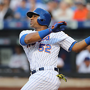 NEW YORK, NEW YORK - May 31:  Yoenis Cespedes #52 of the New York Mets drives in Curtis Granderson #3 of the New York Mets with a sacrifice fly in the first inning during the Chicago White Sox  Vs New York Mets regular season MLB game at Citi Field on May 31, 2016 in New York City. (Photo by Tim Clayton/Corbis via Getty Images)