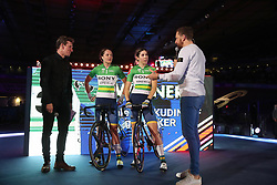 Team Australia are interviewed by Sir Bradley Wiggins after winning the Women's Madison during day five of the Six Day Series at Lee Valley Velopark, London