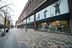 Glasgow, Scotland, UK. 26 March, 2020. Views from city centre in Glasgow on Thursday during the third day of the Government sanctioned Covid-19 lockdown. The city is largely deserted. Only food and convenience stores open. Pictured; Primark Store on Sauchiehall Street which is virtually deserted. Iain Masterton/Alamy Live News