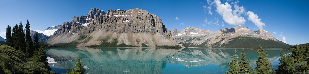 Bow Lake, Crowfoot Mountain, Banff National Park, Alberta, Canada. Banff is part of the Canadian Rocky Mountain Parks World Heritage Site declared by UNESCO in 1984. Panorama stitched from 6 images.