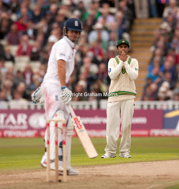 Too late! Captain Salman Butt after his team are bowled out for 72 during the second npower Test Match between England and Pakistan at Edgbaston, Birmingham.  Photo: Graham Morris (Tel: +44(0)20 8969 4192 Email: sales@cricketpix.com) 06/08/10