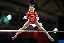 October 28, 2018 - Doha, Quatar - Jin Zhang of  China   during  Uneven Bars qualification at the Aspire Dome in Doha, Qatar, Artistic FIG Gymnastics World Championships on 28 of October 2018. (Credit Image: © Ulrik Pedersen/NurPhoto via ZUMA Press)