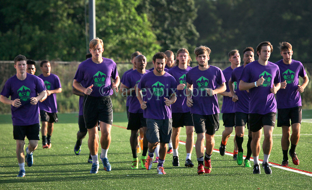08 May 2015. New Orleans, Louisiana.<br /> New Orleans Jesters. Early morning training session for the NPSL team as they prepare for the opening game of the season at Pan American Stadium.<br /> Photo; Charlie Varley/varleypix.com