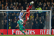 Watford goalkeeper Heurelho Gomes (1) denies Queens Park Rangers forward Matt Smith (17) during The FA Cup 5th round match between Queens Park Rangers and Watford at the Loftus Road Stadium, London, England on 15 February 2019.