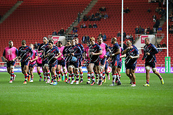 David Lemi (capt) of Bristol Rugby leads his side in from the warmup - Rogan Thomson/JMP - 14/10/2016 - RUGBY UNION - Ashton Gate Stadium - Bristol, England - Bristol Rugby v Saracens - EPCR Challenge Cup.