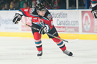 KELOWNA, CANADA - NOVEMBER 7:  Zach Franko #9 of the Kelowna Rockets skates with the puck against the  Edmonton Oil Kings at the Kelowna Rockets on November 7, 2012 at Prospera Place in Kelowna, British Columbia, Canada (Photo by Marissa Baecker/Shoot the Breeze) *** Local Caption ***