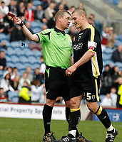 Photo: Paul Greenwood/Richard Lane Photography. <br />Burnley v Cardiff City. Coca-Cola Championship. 26/04/2008. <br />Cardiff's Darren Purse is shown the red card by Refereee Mr A.R.Hall