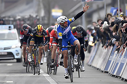 March 23, 2018 - Harelbeke, Belgique - HARELBEKE, BELGIUM - MARCH 23 : GILBERT Philippe (BEL)  of Quick - Step Floors, VAN AVERMAET Greg (BEL)  of BMC Racing Team  during the 60th Record Bank E3 Harelbeke cycling race with start in Harelbeke and finish in Harelbeke (206 kms) on March 23, 2018 in Harelbeke, Belgium, 23/03/2018 (Credit Image: © Panoramic via ZUMA Press)