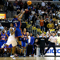 10 March 2007:   New York Knicks guard Steve Francis (1) makes a game winning three-point shot with no time left while being guarded by Washington Wizards guard Antonio Daniels (L) at Verizon Center in Washington, D.C. Francis finished with a game high 26 points as the Knicks defeated the Wizards 90-89.