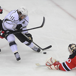 June 2, 2012: Los Angeles Kings center Anze Kopitar (11) is denied by New Jersey Devils goalie Martin Brodeur (30) and back checking left wing Zach Parise (9) during third period action in game 2 of the NHL Stanley Cup Final between the New Jersey Devils and the Los Angeles Kings at the Prudential Center in Newark, N.J. The Kings defeated the Devils 2-1 in overtime.