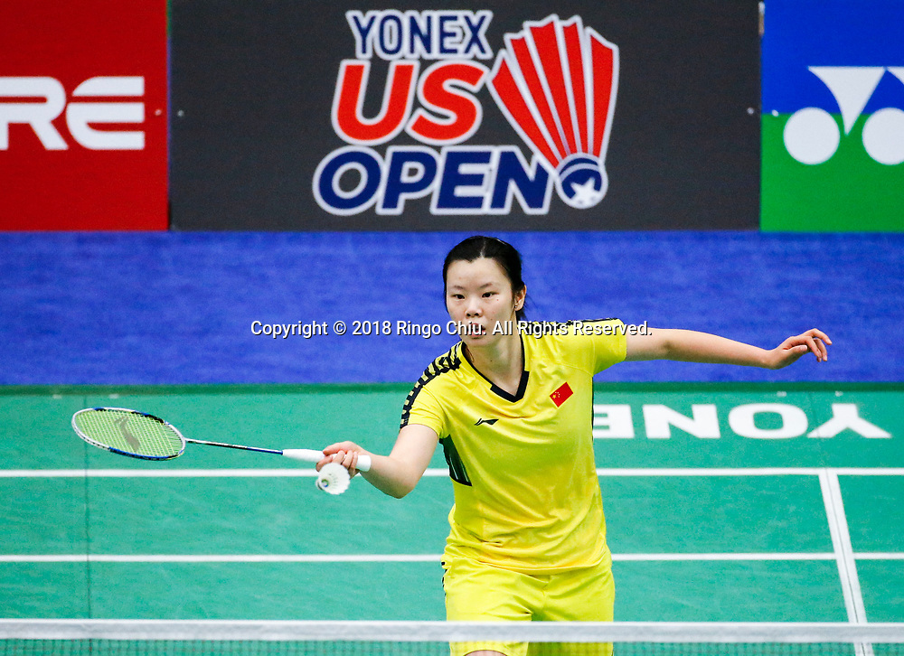 Li Xuerui of China, competes with Beiwen Zhang of USA, during the women's singles final match at the U.S. Open Badminton Championships in Fullerton, California on June 17, 2018. Li won 2-1. (Photo by Ringo Chiu)<br /> <br /> Usage Notes: This content is intended for editorial use only. For other uses, additional clearances may be required.