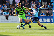 Forest Green Rovers Mark Roberts(21) is tackled by Wycombe Wanderers Luke O'Nien(17) during the EFL Sky Bet League 2 match between Wycombe Wanderers and Forest Green Rovers at Adams Park, High Wycombe, England on 2 September 2017. Photo by Shane Healey.