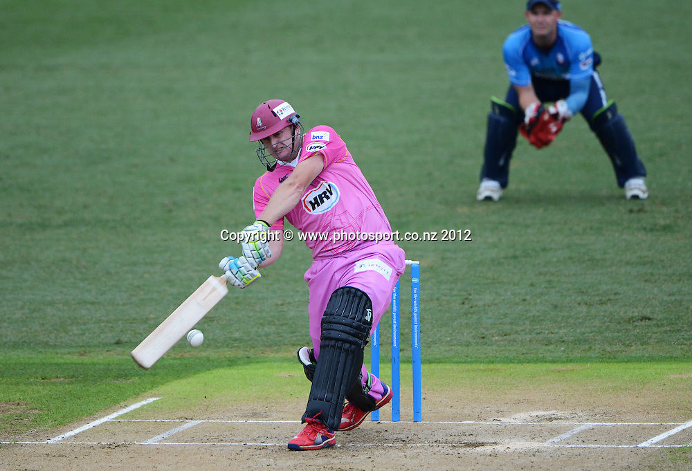 Scott Styris batting during the HRV Cup Twenty20 Cricket match between Auckland Aces and Northern Knights at Eden Park's Outer Oval on Wednesday 26 December 2012. Photo: Andrew Cornaga/Photosport.co.nz