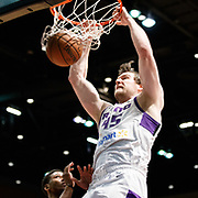 Reno Bighorns Center JACK COOLEY (45) throws down a monster dunk during the NBA G-League Basketball game between the Reno Bighorns and the Raptors 905 at the Reno Events Center in Reno, Nevada.