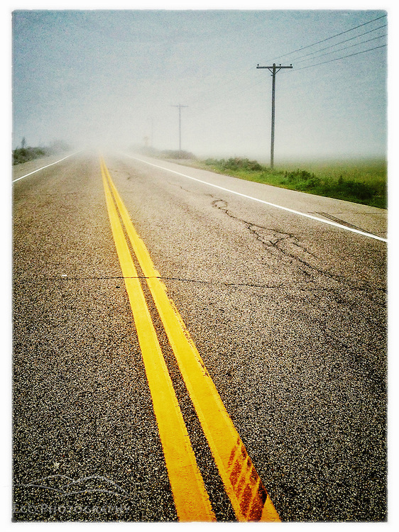 "Foggy morning on Route 1A in Rye, New Hampshire. iPhone photo - suitable for print reproduction up to 8"" x 12""."