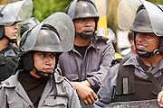 09 SEPTEMBER 2003 - CANCUN, QUINTANA ROO, MEXICO: Mexican riot police prepare to stop anti-globalization protestors marching through Cancun, Mexico during the World Trade Organization Ministerial meetings in Cancun. A few thousand people participated in the march, which was stopped by Mexican law enforcement at the edge of the city of Cancun, several miles from the WTO meeting site at the Cancun Convention Center. Up to 20,000 anti-globalization protestors are expected in Cancun for the WTO ministerial meetings.    PHOTO BY JACK KURTZ  globalization  trade