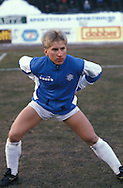 19.03.1986, Olympic Stadium, Helsinki, Finland..European Champions Cup, Quarter Final, 2nd leg match, FC Kuusysi v Steaua Bucuresti..Jyrki H?nnik?inen (Kuusysi) warming up.©Juha Tamminen