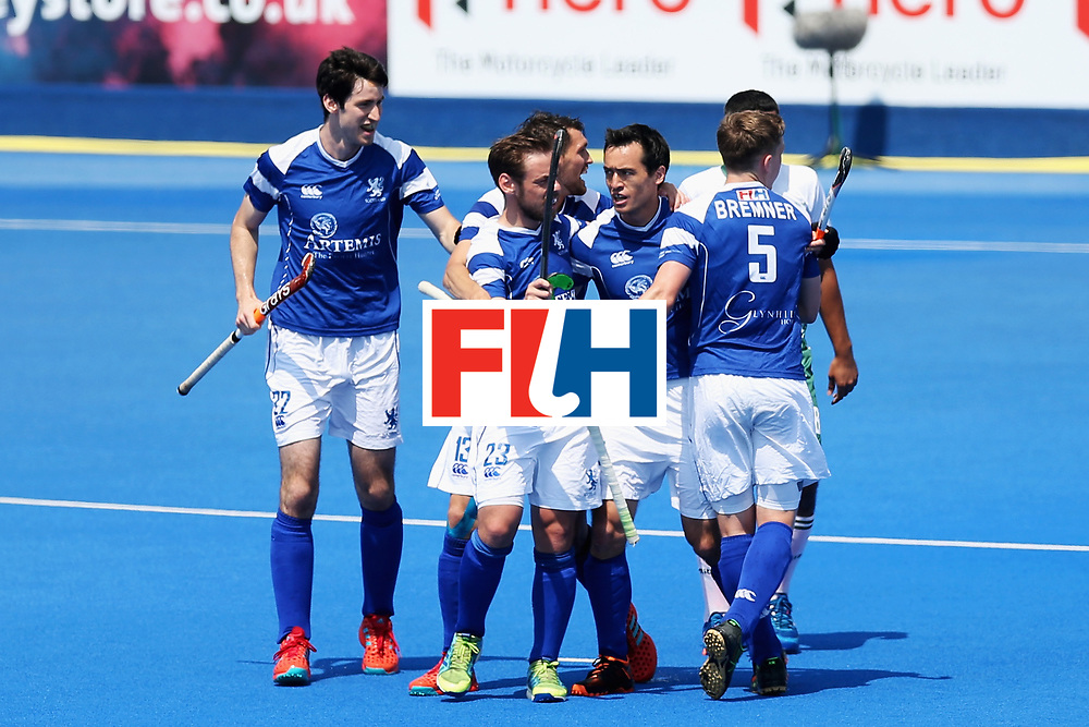 LONDON, ENGLAND - JUNE 19: Wei Adams of Scotland celebrates scoring his sides first goal with his Scotland team mates during the Pool B match between Scotland and Pakistan on day five of Hero Hockey World League Semi-Final at Lee Valley Hockey and Tennis Centre on June 19, 2017 in London, England.  (Photo by Alex Morton/Getty Images)