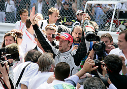 MONTE-CARLO, MONACO - Sunday, May 24, 2009: Jenson Button (GBR Brawn GP) celebrates after winning the Monaco Formula One Grand Prix, his fifth victory in six races, at the Monte-Carlo Circuit. (Pic by Juergen Tap/Hoch Zwei/Propaganda)